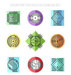 computer science technology emblem set with vector image vector image