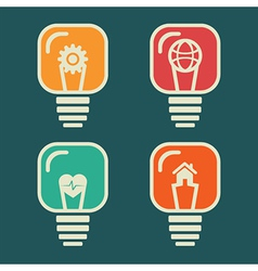 different icon in every bulb vector image vector image