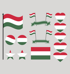 hungary flag set collection of symbols heart vector image vector image