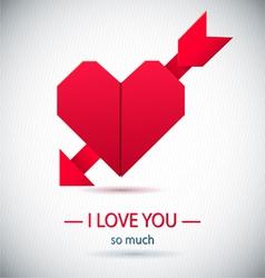 Paper origami symbolic heart vector image