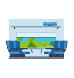 passenger train inside seat in railway transport vector image
