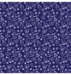pattern with hand-drawn winter and vector image vector image