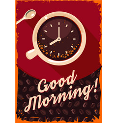 retro poster with coffee cup and clock vector image