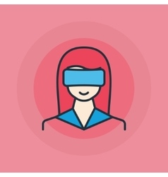 Woman with VR glasses icon vector image