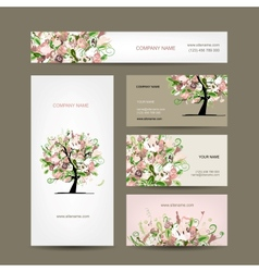 Business cards design with floral tree sketch vector image vector image