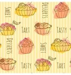 cake Set of 4 hand drawn vector image vector image