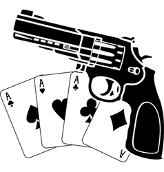 cards and pistol vector image vector image