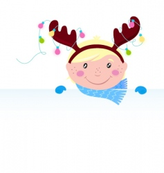 Christmas reindeer boy vector image vector image