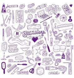 Cosmetic - doodles collection vector image