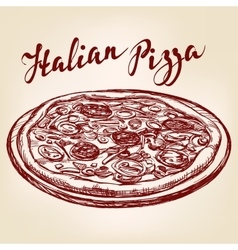 Italian pizza hand drawn llustration vector image vector image
