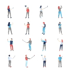 People male female in shooting selfy pictures vector