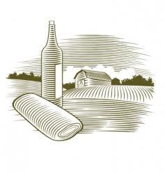 woodcut wine bottle vector image vector image