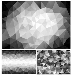 black and white low poly backgrounds set vector image vector image