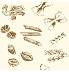 Hand drawn pasta Seamless pattern vector image