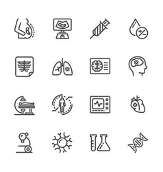 medical diagnostics health check up line icons vector image vector image