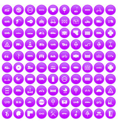 100 road icons set purple vector
