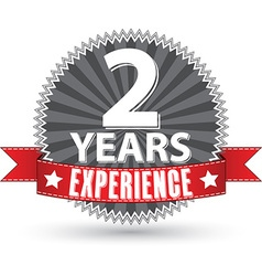 2 years experience retro label with red ribbon vector image