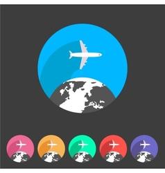 Airplane travel world globe tourism icon vector image