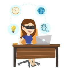 Business woman in vr headset working on computer vector