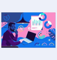 businessman interacting with charts and analysing vector image