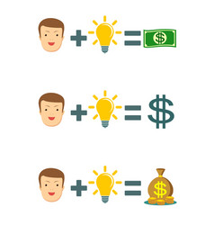 businessman with idea bulb get a lot of money vector image