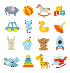Cartoon children toys icons collection vector
