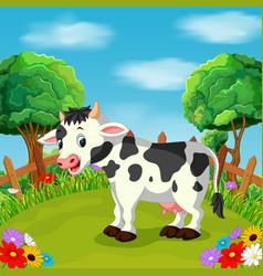 cartoon happy cow smile in the farm vector image