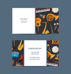 Cartoon musical instruments business card vector