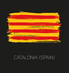 catalonia brush strokes painted country flag vector image
