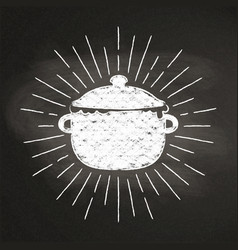 Chalk silhouette boiling pot with sun rays vector