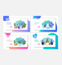 Characters enjoying fireworks landing page vector