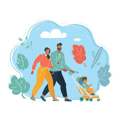characters parents with a stroller and a child vector image