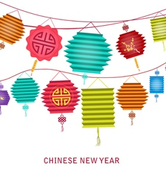 Chinese new year string of bright hanging lantern vector