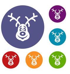 Christmas deer icons set vector