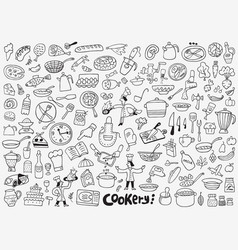 Cooking food kitchen tools icons vector