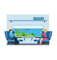 Couple on train against cabin interior background vector