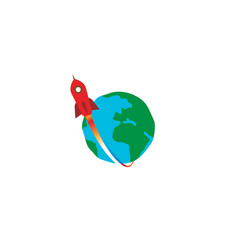 creative red rocket planet earth logo vector image