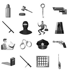 Criminal symbols icons set monochrome vector