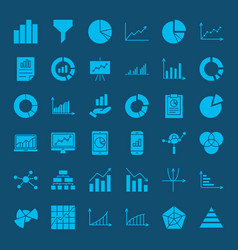 Diagram glyph web icons vector