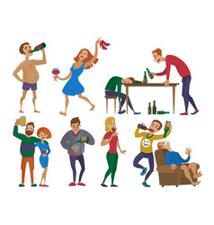 drunk cartoon people alcoholic man and woman vector image