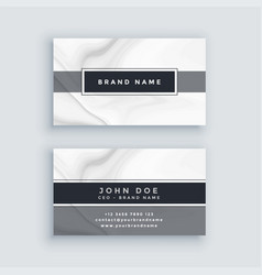 Elegant gray business card template with marble vector