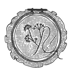 Fancywork cross stitch engraving vector