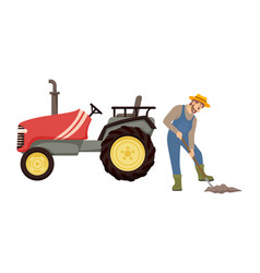 farmer and agricultural machinery banner vector image