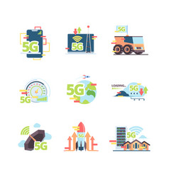 fast 5g internet set high speed wi-fi vector image