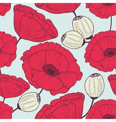 Floral poppyes seamless pattern vector image vector image