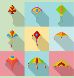 flying kite icons set flat style vector image