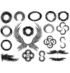 Frames and wreaths in black and white style from vector