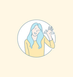 friendly nonverbal greeting gesture concept vector image