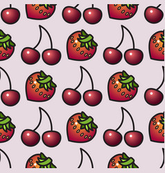 fruit seamless pattern cartoon style strawberry vector image