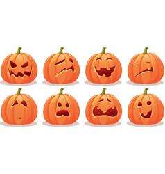 Funny expressive halloween pumpkin set vector